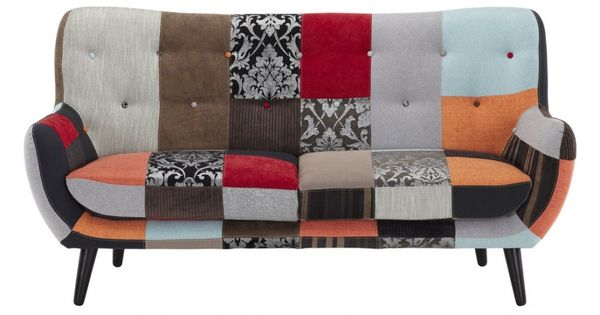Canap 3 places en tissu flavio patchwork nuances rouge for Canape patchwork