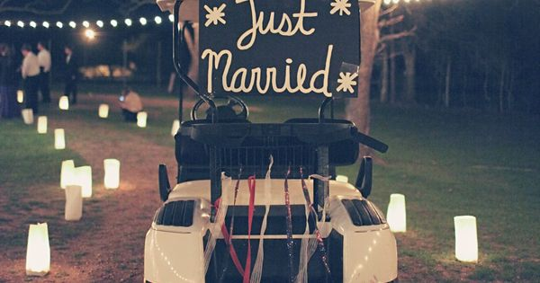 Golf course wedding :) cute idea for your getaway