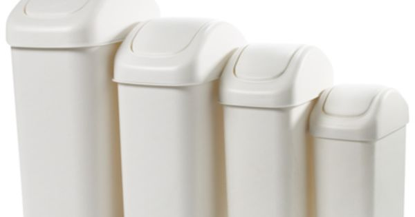 Lustroware 7 2 Gal White Swing Lid Trash Can Bathroom Waste Basket Container Store Trash Can