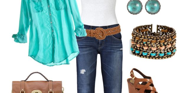 turquoise shirt, capris, white tank top and turquoise and coral jewelry and