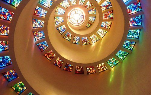 The Glory Window, which forms the 60-foot-high ceiling of the Chapel of
