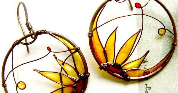 Amazing. Sunflower Earrings. Sunflower Jewelry. Round Copper Earrings. Amber Colors Earrings. Flower