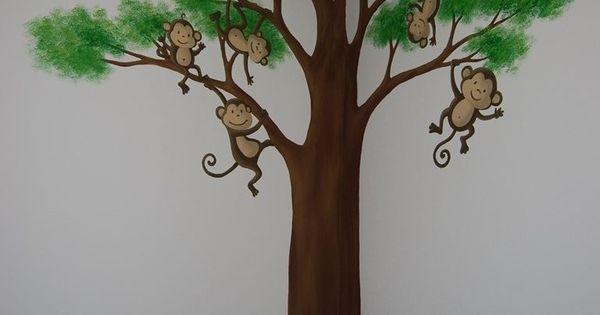 Wandschildering boom met aapjes muurschilderingen kinderkamers van eigen ontwerp pinterest - Ontwerp muurschildering ...