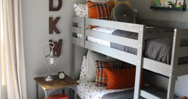 Martha Stewart Bedford Gray (from Home Depot) and the IKEA bunk beds