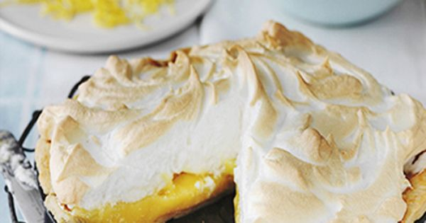 Meringue topped lemon pie . dessert .