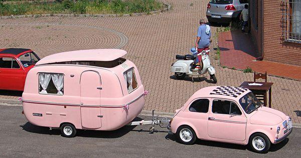 FIAT500 with pink caravan
