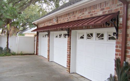 The Colonial Red Metal Classic Awnings Over Garage Doors Door Awnings Metal Awning Awning Over Door