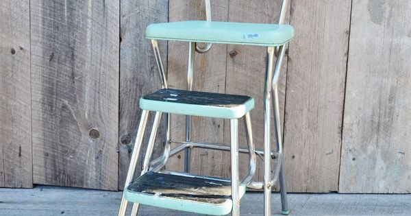 Aqua Cosco Step Stool Chair Vintage By