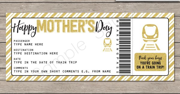 Mother S Day Train Ticket Gift Voucher Template Surprise Train Trip Reveal Boarding Pass Template Gift Certificate Template Surprise Trip Reveal
