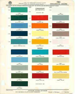 1961 Chevrolet Dodge Truck Paint Color Chart Ppg 61 Paint Color Chart Truck Paint Paint Charts