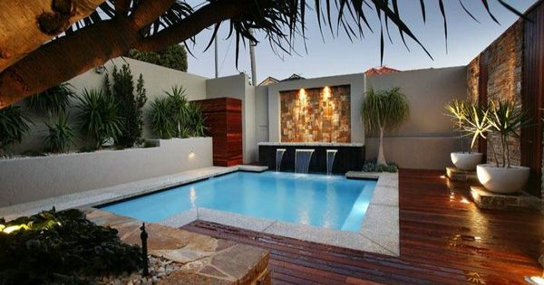 Beautiful small backyard with modern pool decks design for Pool design on a budget