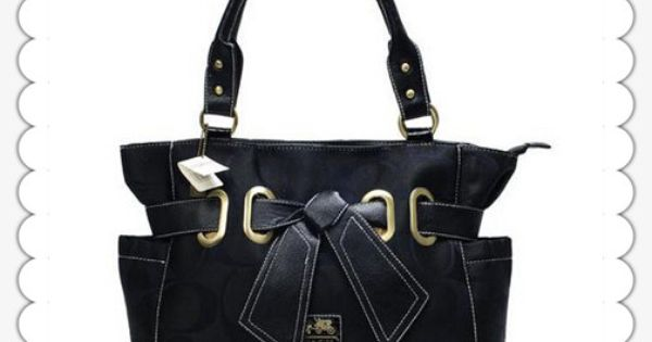 "Coach Poppy Bowknot Signature Medium Black Tote...missing my black ""c"" coach bag."