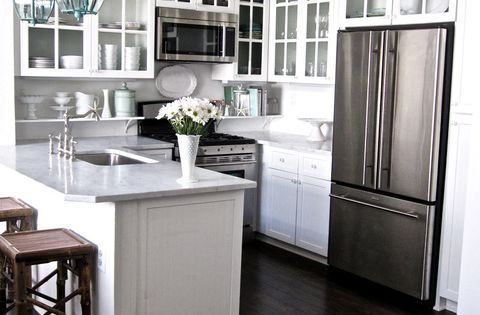 white kitchen, small kitchen. Great light fixtures.