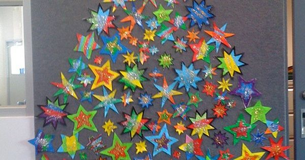 Christmas: tree made of stars - cute as a class project for