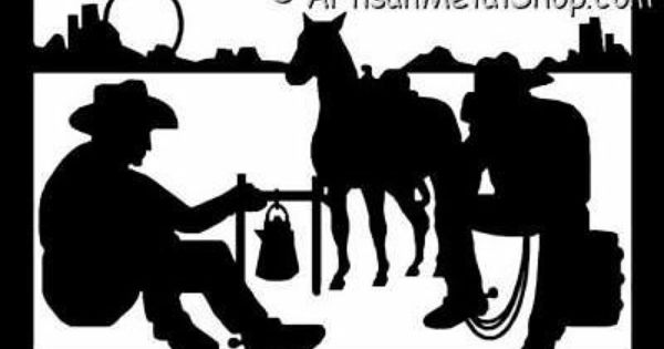 Western Cowboys At Campfire Metal Wall Art Silhouette