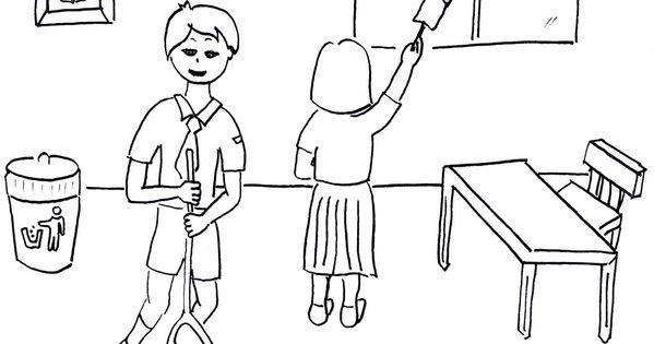 Contoh Gambar Mewarnai Lingkungan Sekolah