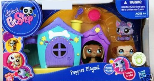 Littlest Pet Shop Puppies With Dog House Playset Rare