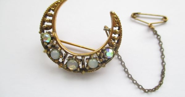 Vintage Gilt Metal Crescent Moon Brooch Pin With Faux Moonstone