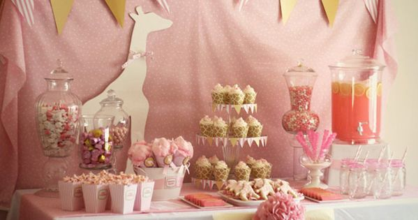 Pink Giraffe Party Theme for baby birthday parties! Credit: Kara's Party Ideas/