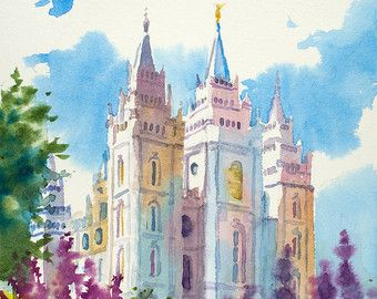 Salt Lake Lds Temple Painting Salt Lake Temple Spring Painting