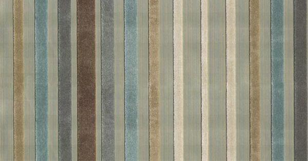 Rossini Velvet Stripe Fabric Graded Aqua And Beige Brown
