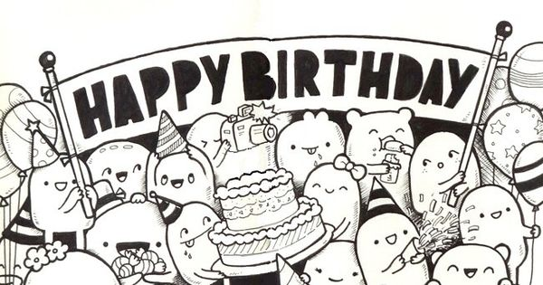 Adult Coloring Page Happy Birthday 10