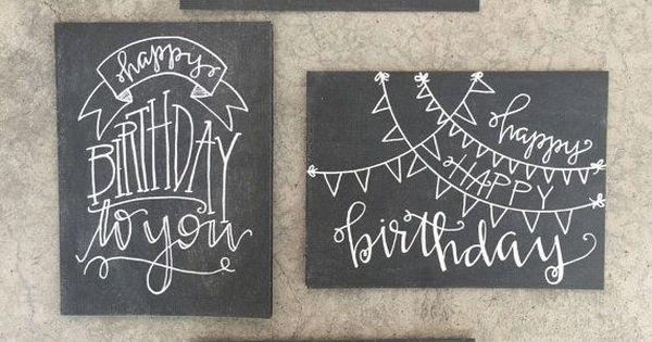 Set of four handlettered modern calligraphy chalkboard