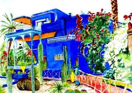 Bleu Majorelle Jardin Majorelle Aquarelle Et Decoration Exterieur