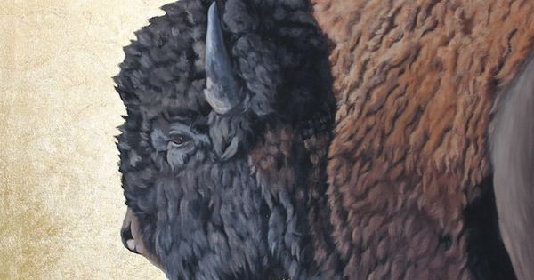 """Power of One"" - Buffalo painting with gold leaf background. buffalo"