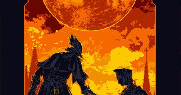Artsy Fartsy Dark Souls Ii Concept Art: Large Bloodborne Hunter And Plain Doll Poster Print