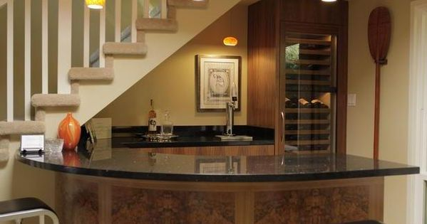 Home Bar Under Stairs Great Way To Add More Space With The Curved Counter Ideas For My Spaces