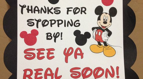 Mickey Mouse Minnie Mouse Disney Birthday Party Thanks For