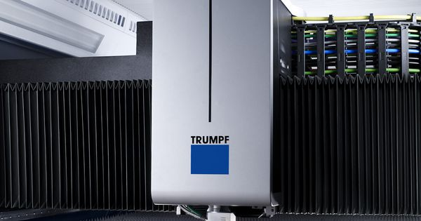 A Trumpf 3030 Fiber Laser In Action Cutting Copper Sheet