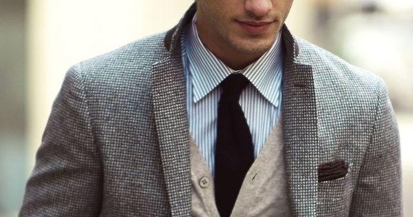 dress shirt, cardigan, suit jacket, natural knit hat.