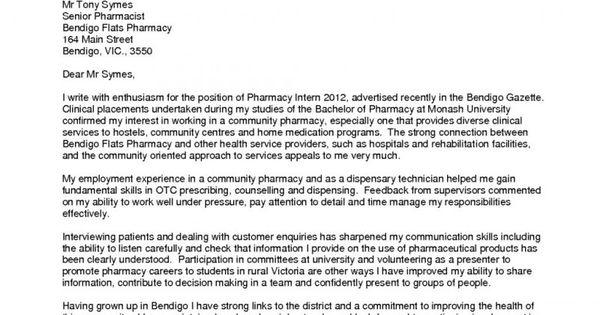 cover letter for pharmacy technician student education pinterest