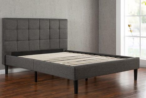 Greenhome123 Grey Upholstered Platform Bed Frame With Wooden Slats And Padded Headboard In Modern Platform Bed Upholstered Platform Bed King Platform Bed Frame