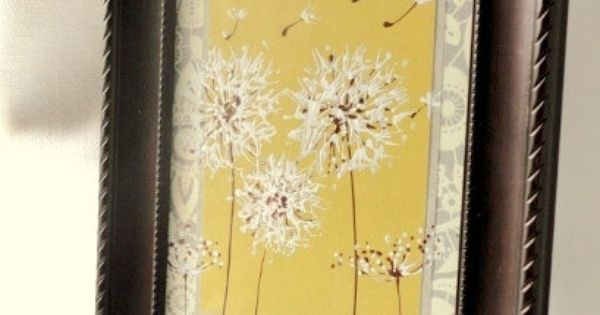 Yellow And Grey Painted Dandelion Art, Original Artwork