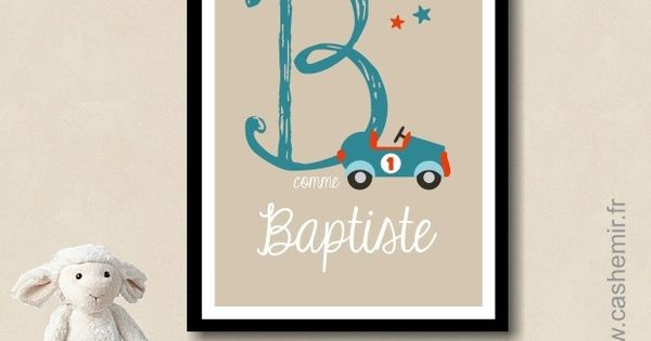 Affiche lettre pr nom b b enfant personnalis e plaque de for Decoration porte chambre garcon