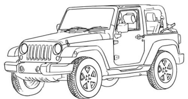 Jeep Wrangler Off Road Coloring Page