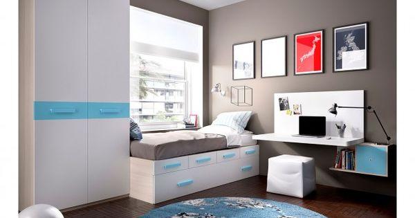 Juvenil modular con cajones escritorio armario - Dormitorios con escritorio ...