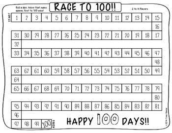 Race To 100 A 100 Days Of School Freebie 100 Days Of School