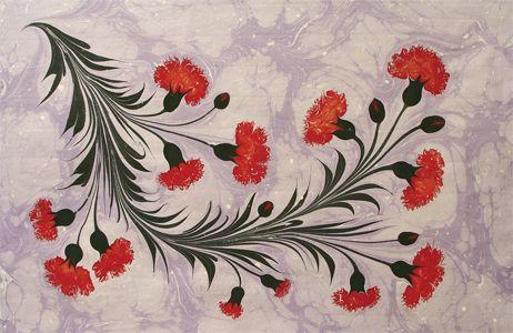 Floral Ebru - Necmeddin Okyay | Ebru art, Turkish art, Flower painting