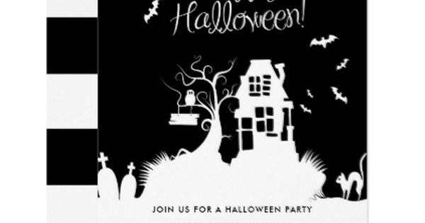 Black White Haunted House Halloween Party Invitation Zazzle Com Haunted House Halloween Party Halloween Party Cards Halloween Party Invitations