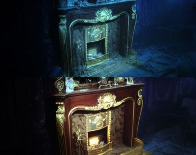 Wood stove from the Titanic now and then