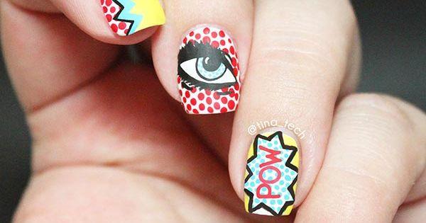 80 Classy Nail Art Designs for Short Nails Roy Lichtenstein Eye Nail