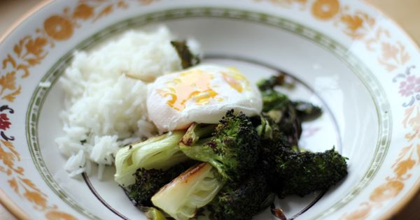 Roasted Veggies And Rice Noodles With Poached Egg Recipe — Dishmaps