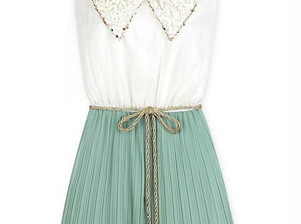 Mint green and white vintage collar dress.