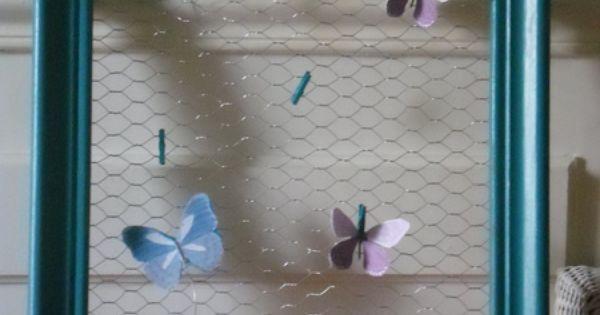 Cadre moulures peint couleur bleu turquoise grillage petites pingles lin - Acheter cadre en ligne ...