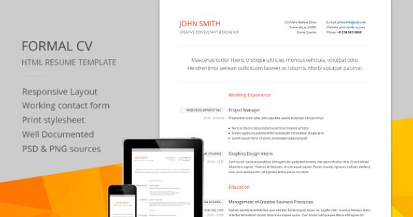 Shopping Formal CV - Responsive CV \/ RESUME HTML Templatewe are - html resume