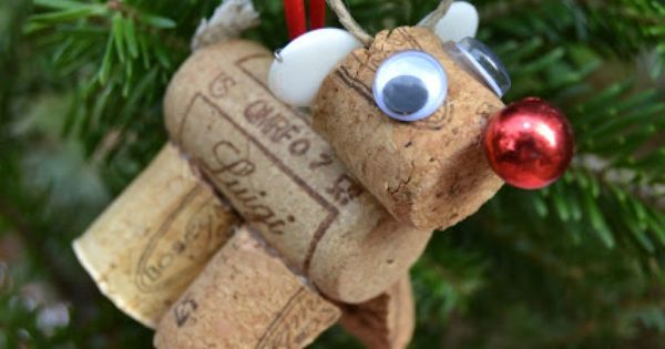 Wine Cork Rudolf and other cork ornaments - fun DIY project to